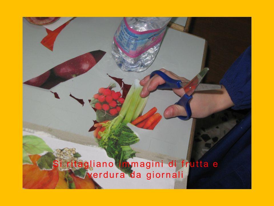 Si ritagliano immagini di frutta e verdura da giornali