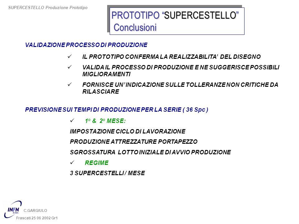 C.GARGIULO Frascati 25 06 2002 Gr1 PREVISIONE SUI TEMPI DI PRODUZIONE PER LA SERIE ( 36 Spc ) 1 o & 2 o MESE: IMPOSTAZIONE CICLO DI LAVORAZIONE PRODUZ