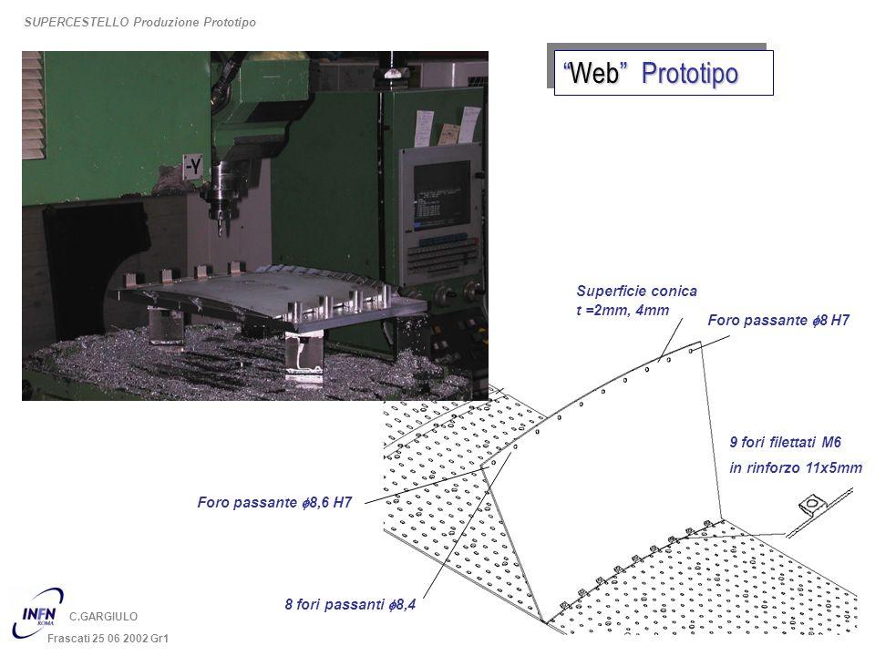 C.GARGIULO Frascati 25 06 2002 Gr1 Superficie conica 9 fori filettati M6 in rinforzo 11x5mm t =2mm, 4mm Foro passante f8 H7 Foro passante f8,6 H7 8 fo