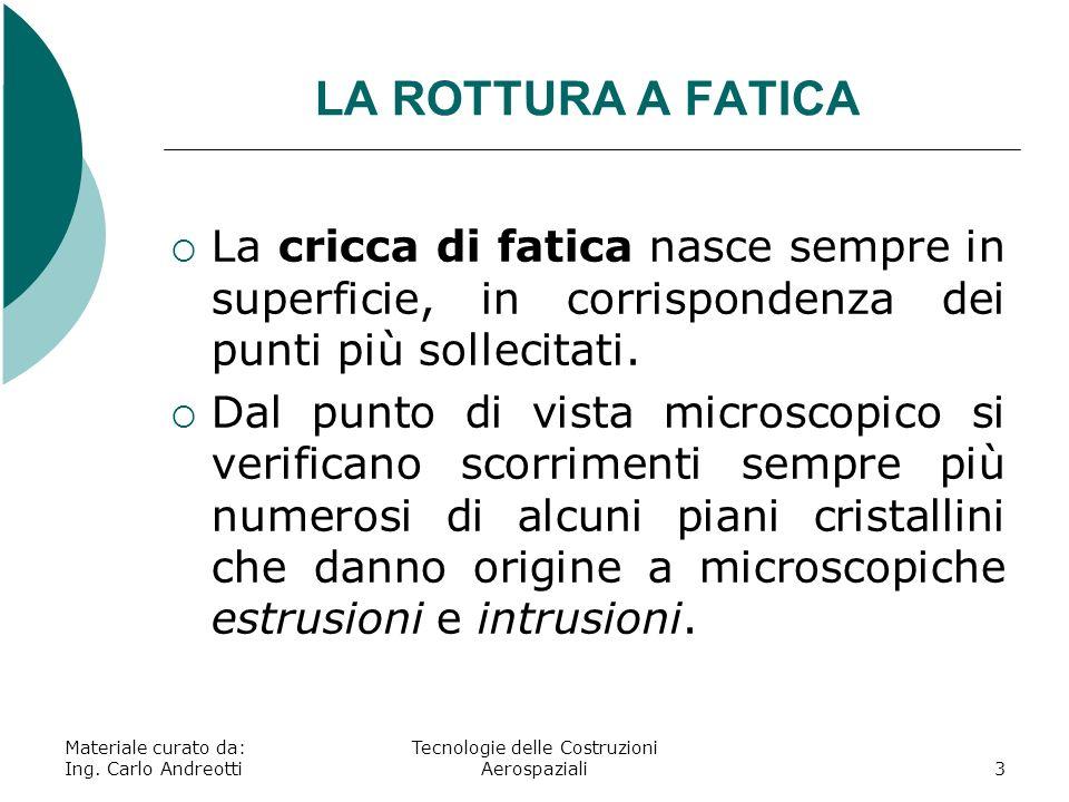 LA ROTTURA A FATICA La cricca di fatica nasce sempre in superficie, in corrispondenza dei punti più sollecitati. Dal punto di vista microscopico si ve