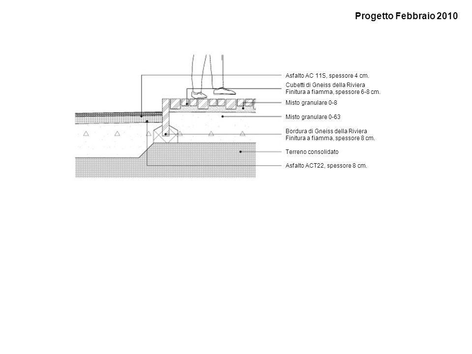 Terreno consolidato Asfalto AC 11S, spessore 4 cm. Cubetti di Gneiss della Riviera Finitura a fiamma, spessore 6-8 cm. Misto granulare 0-8 Misto granu