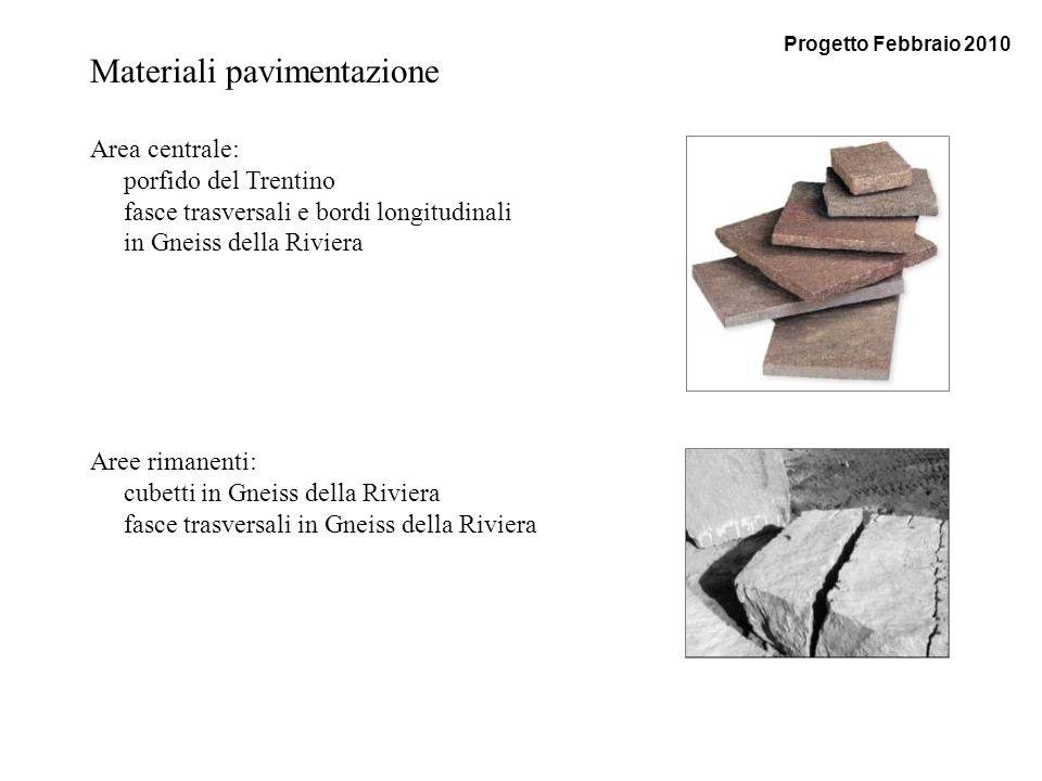 Materiali pavimentazione Area centrale: porfido del Trentino fasce trasversali e bordi longitudinali in Gneiss della Riviera Aree rimanenti: cubetti i