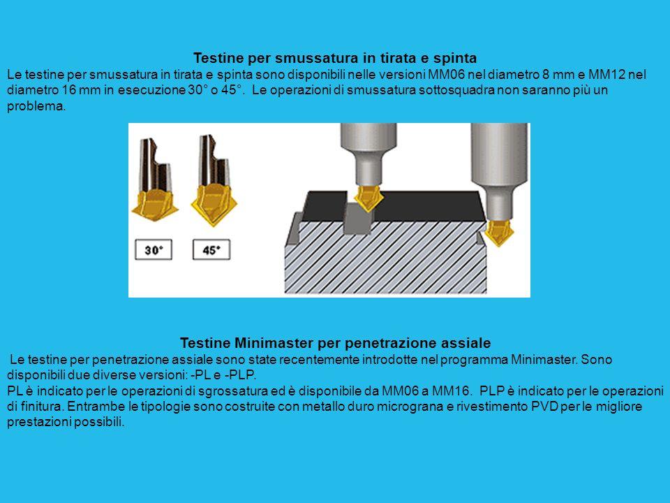 Testine per smussatura in tirata e spinta Le testine per smussatura in tirata e spinta sono disponibili nelle versioni MM06 nel diametro 8 mm e MM12 nel diametro 16 mm in esecuzione 30° o 45°.