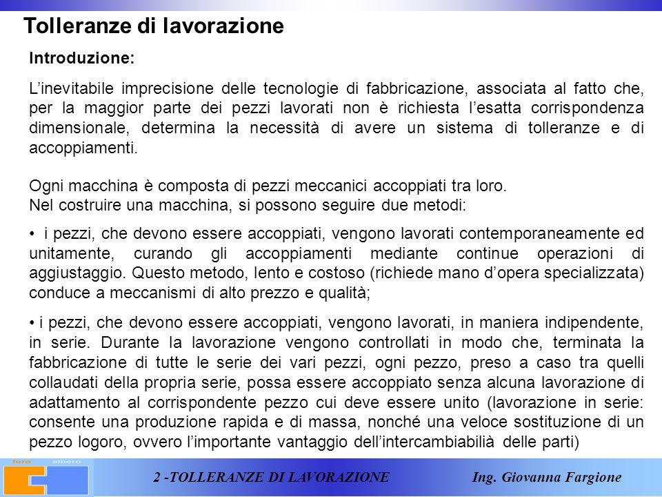 23 -TOLLERANZE DI LAVORAZIONE Ing. Giovanna Fargione Riepilogo definizioni