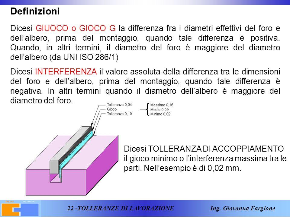 22 -TOLLERANZE DI LAVORAZIONE Ing.