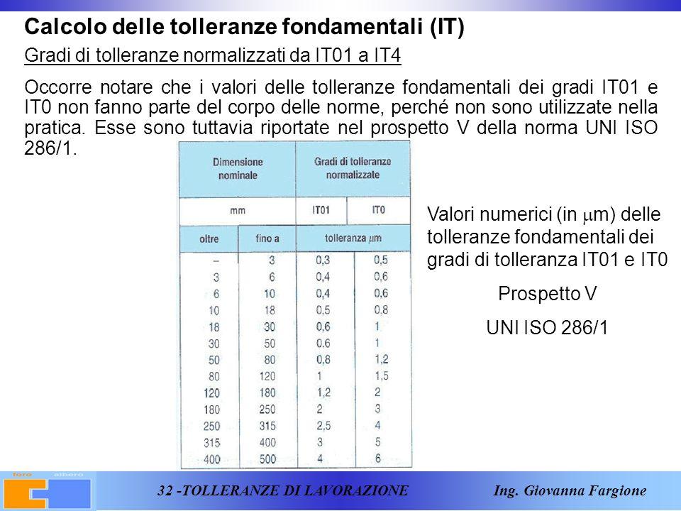 32 -TOLLERANZE DI LAVORAZIONE Ing.