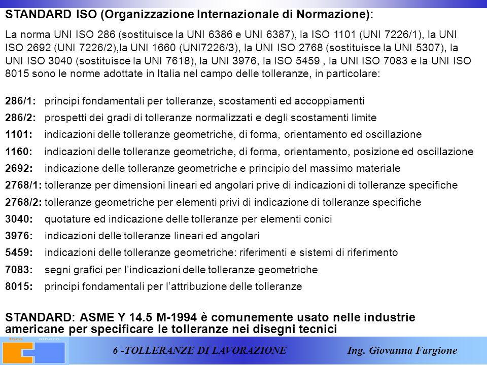 7 -TOLLERANZE DI LAVORAZIONE Ing.