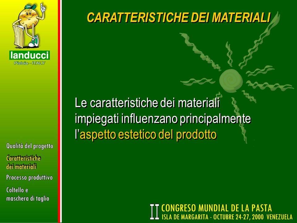 CARATTERISTICHE DEI MATERIALI Le caratteristiche dei materiali impiegati influenzano principalmente laspetto estetico del prodotto
