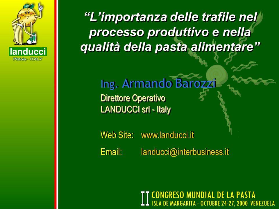 Limportanza delle trafile nel processo produttivo e nella qualità della pasta alimentare Ing. Armando Barozzi Direttore Operativo LANDUCCI srl - Italy