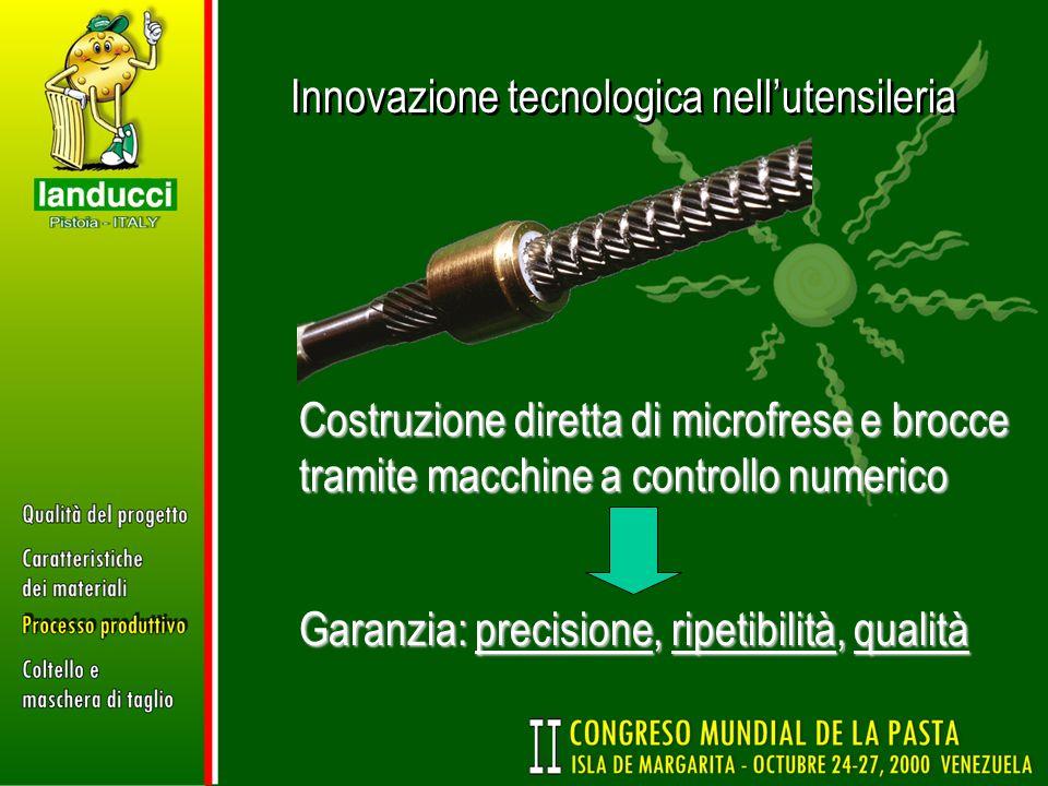 Innovazione tecnologica nellutensileria Costruzione diretta di microfrese e brocce tramite macchine a controllo numerico Garanzia: precisione, ripetib