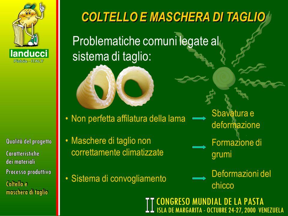 COLTELLO E MASCHERA DI TAGLIO Problematiche comuni legate al sistema di taglio: Non perfetta affilatura della lama Sbavatura e deformazione Maschere d