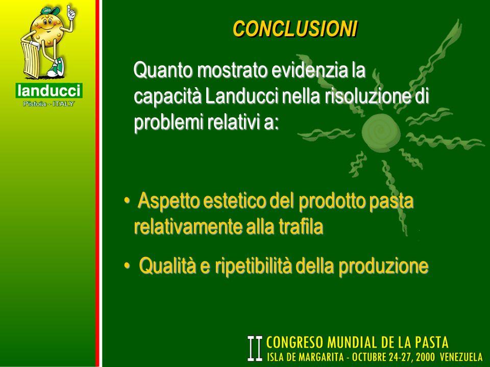 CONCLUSIONI Quanto mostrato evidenzia la capacità Landucci nella risoluzione di problemi relativi a: Quanto mostrato evidenzia la capacità Landucci ne