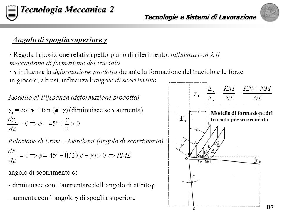 D7 Tecnologie e Sistemi di Lavorazione Tecnologia Meccanica 2 Angolo di spoglia superiore Regola la posizione relativa petto-piano di riferimento: influenza con il meccanismo di formazione del truciolo influenza la deformazione prodotta durante la formazione del truciolo e le forze in gioco e, altresì, influenza langolo di scorrimento Modello di Pijspanen (deformazione prodotta) s cot + tan ( ) (diminuisce se aumenta) Relazione di Ernst – Merchant (angolo di scorrimento) angolo di scorrimento : - diminuisce con laumentare dellangolo di attrito - aumenta con langolo di spoglia superiore FzFz Modello di formazione del truciolo per scorrimento