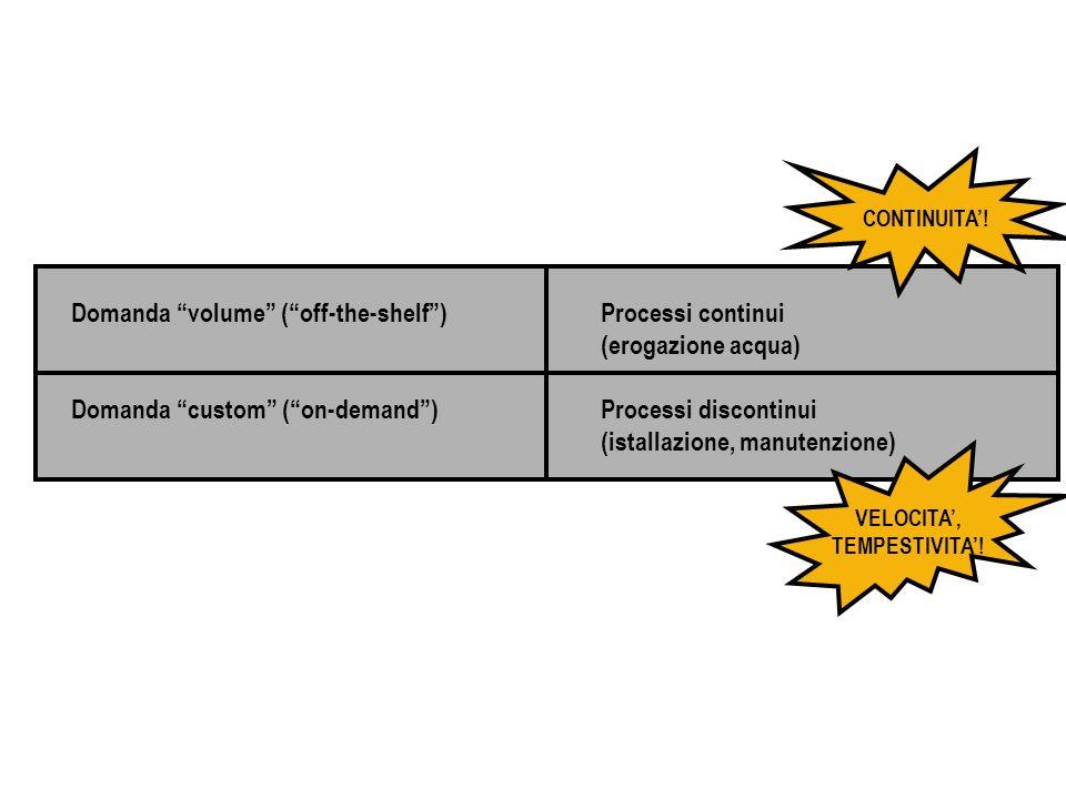 Domanda volume (off-the-shelf) Domanda custom (on-demand) Processi continui (erogazione acqua) Processi discontinui (istallazione, manutenzione) CONTI