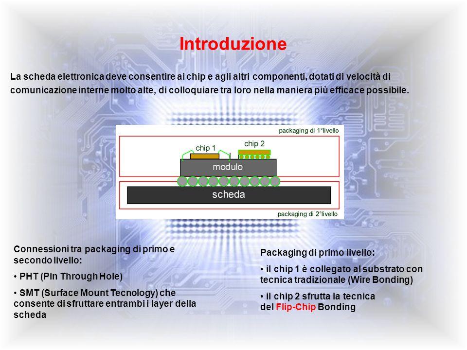 Tecnologia Flip-Chip (1) La connessione Flip-Chip viene effettuata sfruttando tutta larea sottostante alla superficie attiva del chip mediante sfere (BGA - Ball Grid Array) di materiale di giunzione (tipicamente in lega saldante piombo-stagno) e presenta numerosi vantaggi rispetto alle connessioni Wire Bonding: Riduce linduttanza di segnale: si hanno linee di interconnessione più corte (0.1 mm contro 1-5 mm); questo è un punto chiave per componenti ad alta frequenza e switching device Riduce linduttanza tra alimentazione e massa: lalimentazione può essere portata direttamente al core del componente; questo accorgimento abbassa notevolmente il rumore sullalimentazione a vantaggio delle prestazioni Aumenta la densità di segnali: può utilizzare lintera superficie del die per le interconnessioni perciò può supportarne una quantità maggiore a parità di area Restringimento del die: può favorire il rispetto di specifiche sulle dimensioni o sul costo, dovendo utilizzare meno silicio Riduce il package footprint: la dimensione totale del package può essere ridotta utilizzando la tecnica Flip-Chip; questo può essere dovuto alla riduzione dellarea di die, alla riduzione (o annullamento) degli spazi dedicati ai fili o allutilizzo di una tecnologia con più elevata densità di substrato.