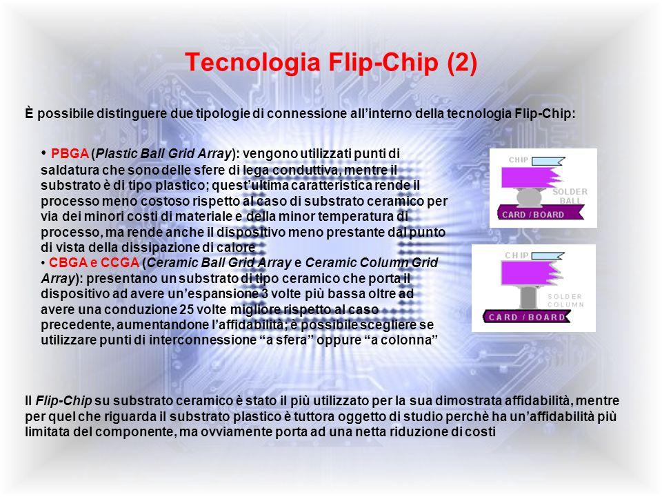 Struttura del Flip-Chip Chip in silicio: è lunità operativa di ogni sistema elettronico, contiene al suo interno milioni di transistor in grado di eseguire le funzioni principali e devessere collegato al resto del sistema elettronico attraverso il packaging Strato di passivazione del silicio (di solito Nitruro di silicio): ha funzione di protezione del chip Modulo o substrato (di materiale ceramico o plastico): permette il fissaggio del chip alla scheda Solder joint di Sn/Pb eutettico: è una sfera (o colonna) di materiale in grado di saldare tra loro i pads di alluminio del chip con quelli di rame presenti nel modulo; questa funzione devessere ottimizzata per permettere al segnale elettrico di passare dal chip al modulo senza dispersione ed è, per questo, uno degli aspetti più critici del processo Solder mask: ha funzione di protezione del modulo; come per il caso dello strato di passivazione del silicio, quando si collegano i pads di Al e Cu non è desiderabile che il segnale elettrico interessi anche le zone circostanti i pads Finiture metalliche (pads) in rame dalla parte del modulo Pads di alluminio sul chip Underfill: materiale utilizzato per proteggere la connessione dallambiente esterno e per aumentare laffidabilità del collegamento Il Packaging si occupa di mettere insieme questi componenti per ottenere una struttura il più affidabile possibile, passando attraverso scelte di materiali e scelte di processo che devono portare alla riduzione dei costi
