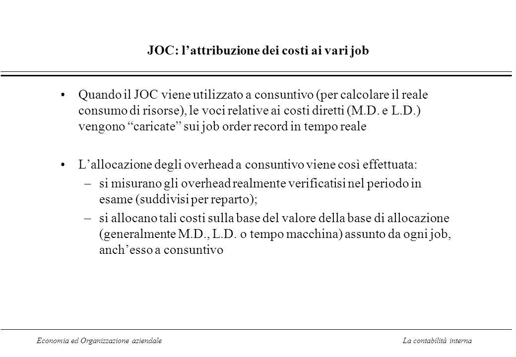 Economia ed Organizzazione aziendaleLa contabilità interna JOC: lattribuzione dei costi ai vari job Quando il JOC viene utilizzato a consuntivo (per calcolare il reale consumo di risorse), le voci relative ai costi diretti (M.D.