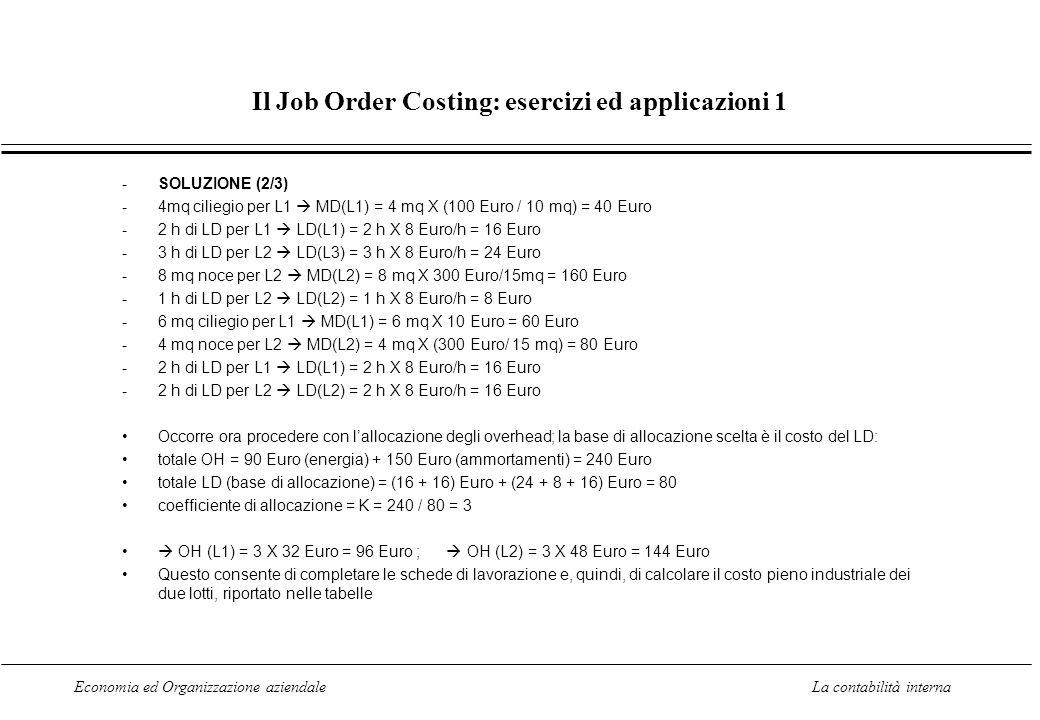 Economia ed Organizzazione aziendaleLa contabilità interna Il Job Order Costing: esercizi ed applicazioni 1 -SOLUZIONE (2/3) -4mq ciliegio per L1 MD(L1) = 4 mq X (100 Euro / 10 mq) = 40 Euro -2 h di LD per L1 LD(L1) = 2 h X 8 Euro/h = 16 Euro -3 h di LD per L2 LD(L3) = 3 h X 8 Euro/h = 24 Euro -8 mq noce per L2 MD(L2) = 8 mq X 300 Euro/15mq = 160 Euro -1 h di LD per L2 LD(L2) = 1 h X 8 Euro/h = 8 Euro -6 mq ciliegio per L1 MD(L1) = 6 mq X 10 Euro = 60 Euro -4 mq noce per L2 MD(L2) = 4 mq X (300 Euro/ 15 mq) = 80 Euro -2 h di LD per L1 LD(L1) = 2 h X 8 Euro/h = 16 Euro -2 h di LD per L2 LD(L2) = 2 h X 8 Euro/h = 16 Euro Occorre ora procedere con lallocazione degli overhead; la base di allocazione scelta è il costo del LD: totale OH = 90 Euro (energia) + 150 Euro (ammortamenti) = 240 Euro totale LD (base di allocazione) = (16 + 16) Euro + (24 + 8 + 16) Euro = 80 coefficiente di allocazione = K = 240 / 80 = 3 OH (L1) = 3 X 32 Euro = 96 Euro ; OH (L2) = 3 X 48 Euro = 144 Euro Questo consente di completare le schede di lavorazione e, quindi, di calcolare il costo pieno industriale dei due lotti, riportato nelle tabelle