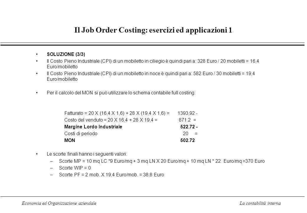Economia ed Organizzazione aziendaleLa contabilità interna Il Job Order Costing: esercizi ed applicazioni 1 SOLUZIONE (3/3) Il Costo Pieno Industriale (CPI) di un mobiletto in ciliegio è quindi pari a: 328 Euro / 20 mobiletti = 16,4 Euro/mobiletto Il Costo Pieno Industriale (CPI) di un mobiletto in noce è quindi pari a: 582 Euro / 30 mobiletti = 19,4 Euro/mobiletto Per il calcolo del MON si può utilizzare lo schema contabile full costing: Fatturato = 20 X (16,4 X 1,6) + 28 X (19,4 X 1,6) = 1393,92 - Costo del venduto = 20 X 16,4 + 28 X 19,4 = 871.2 = Margine Lordo Industriale 522.72 - Costi di periodo 20 = MON 502.72 Le scorte finali hanno i seguenti valori: –Scorte MP = 10 mq LC *9 Euro/mq + 3 mq LN X 20 Euro/mq + 10 mq LN * 22 Euro/mq =370 Euro –Scorte WIP = 0 –Scorte PF = 2 mob.