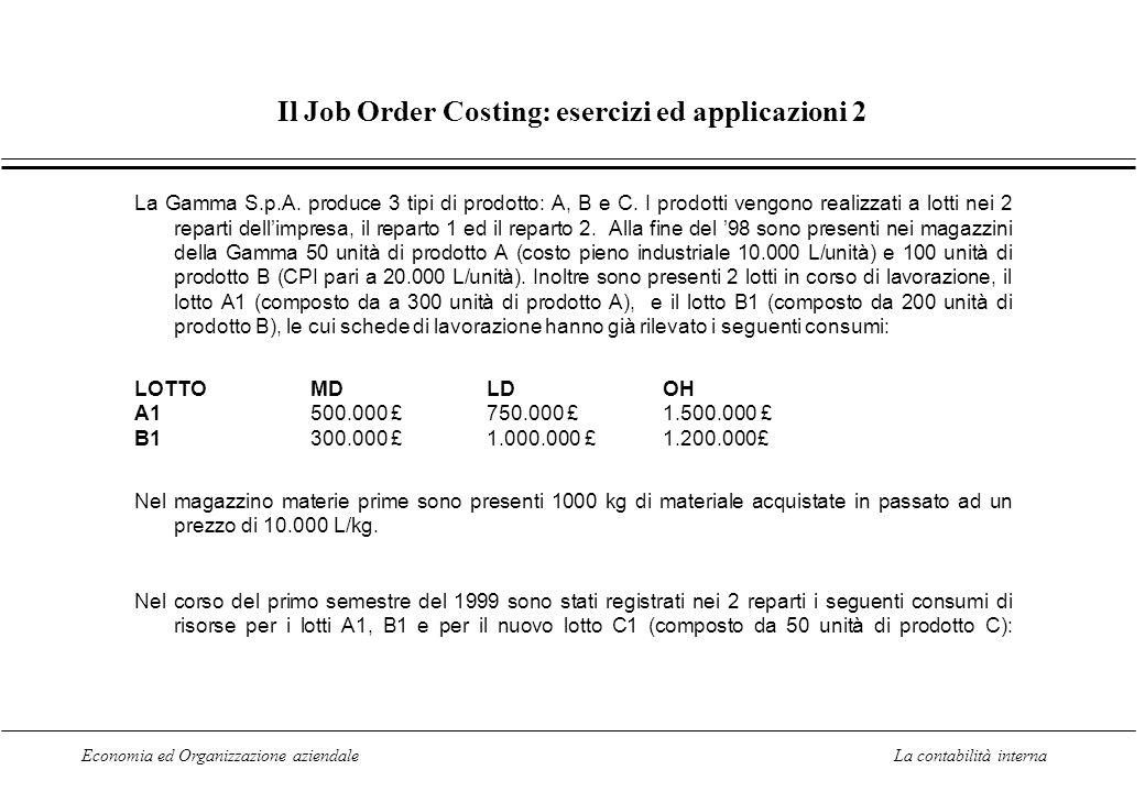 Economia ed Organizzazione aziendaleLa contabilità interna Il Job Order Costing: esercizi ed applicazioni 2 La Gamma S.p.A.