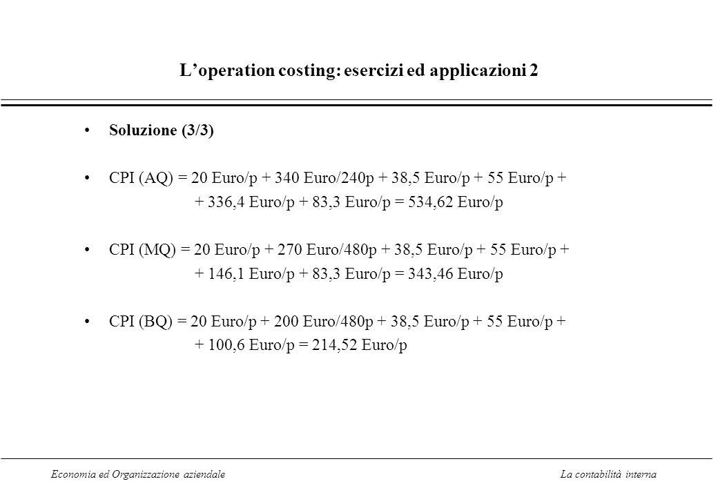 Economia ed Organizzazione aziendaleLa contabilità interna Loperation costing: esercizi ed applicazioni 2 Soluzione (3/3) CPI (AQ) = 20 Euro/p + 340 Euro/240p + 38,5 Euro/p + 55 Euro/p + + 336,4 Euro/p + 83,3 Euro/p = 534,62 Euro/p CPI (MQ) = 20 Euro/p + 270 Euro/480p + 38,5 Euro/p + 55 Euro/p + + 146,1 Euro/p + 83,3 Euro/p = 343,46 Euro/p CPI (BQ) = 20 Euro/p + 200 Euro/480p + 38,5 Euro/p + 55 Euro/p + + 100,6 Euro/p = 214,52 Euro/p