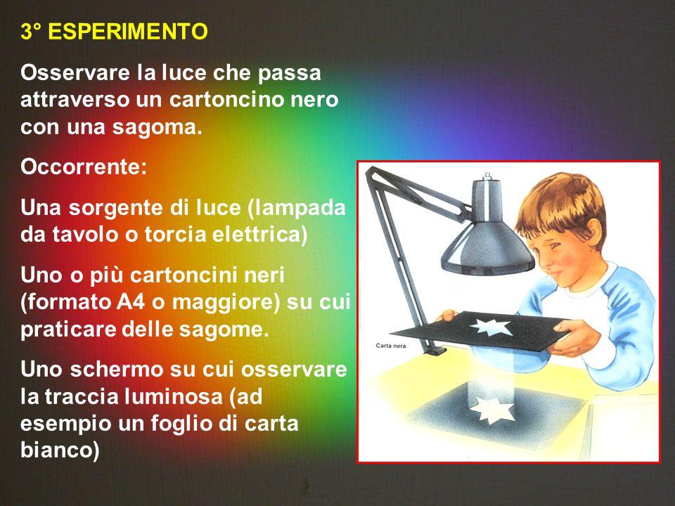 3° ESPERIMENTO Osservare la luce che passa attraverso un cartoncino nero con una sagoma. Occorrente: Una sorgente di luce (lampada da tavolo o torcia