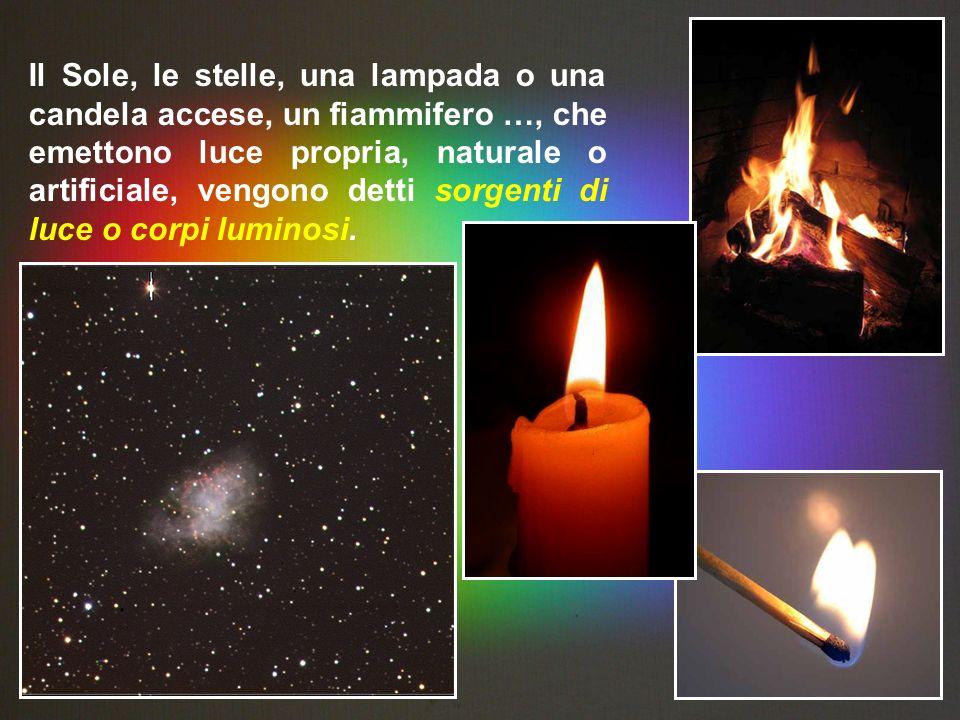 Il Sole, le stelle, una lampada o una candela accese, un fiammifero …, che emettono luce propria, naturale o artificiale, vengono detti sorgenti di lu