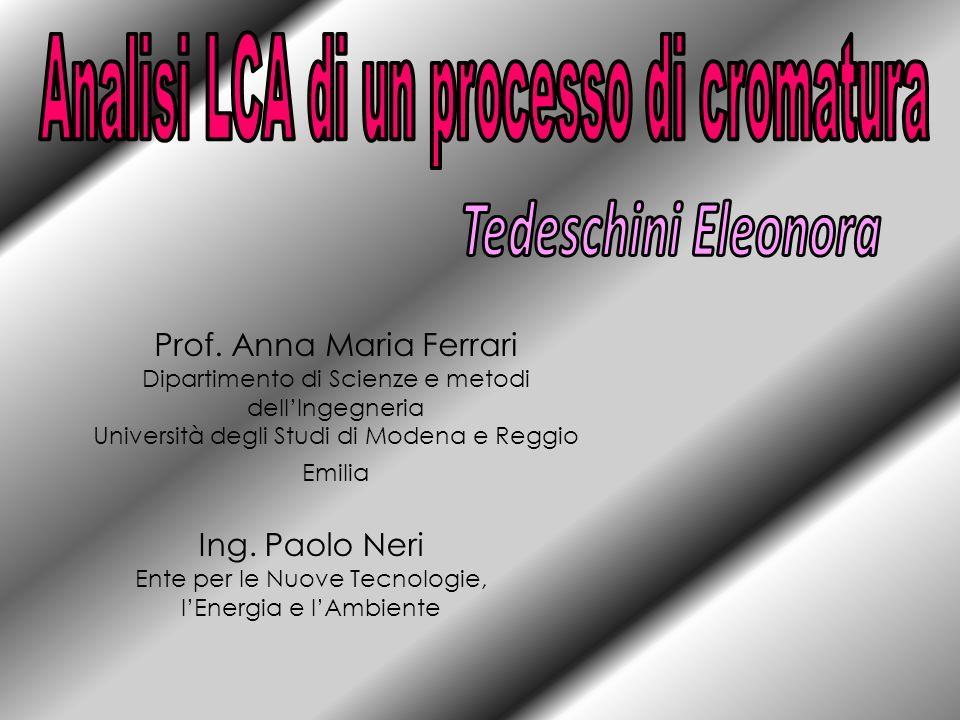 Prof. Anna Maria Ferrari Dipartimento di Scienze e metodi dellIngegneria Università degli Studi di Modena e Reggio Emilia Ing. Paolo Neri Ente per le