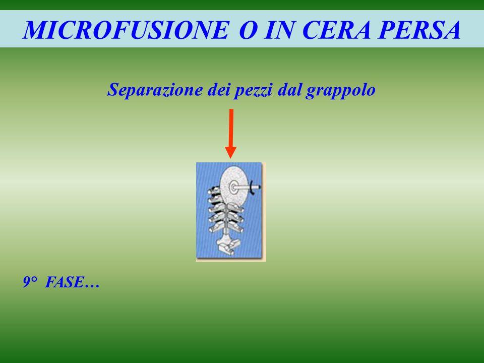 MICROFUSIONE O IN CERA PERSA Separazione dei pezzi dal grappolo 9° FASE…