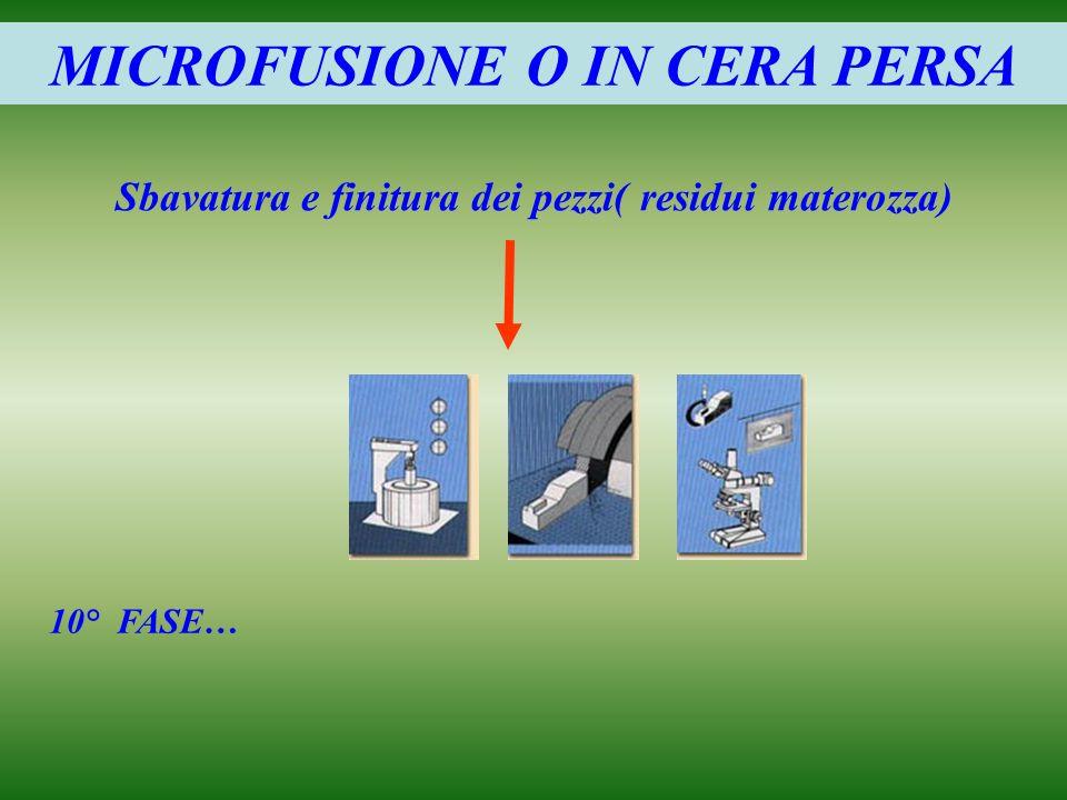 MICROFUSIONE O IN CERA PERSA Sbavatura e finitura dei pezzi( residui materozza) 10° FASE…