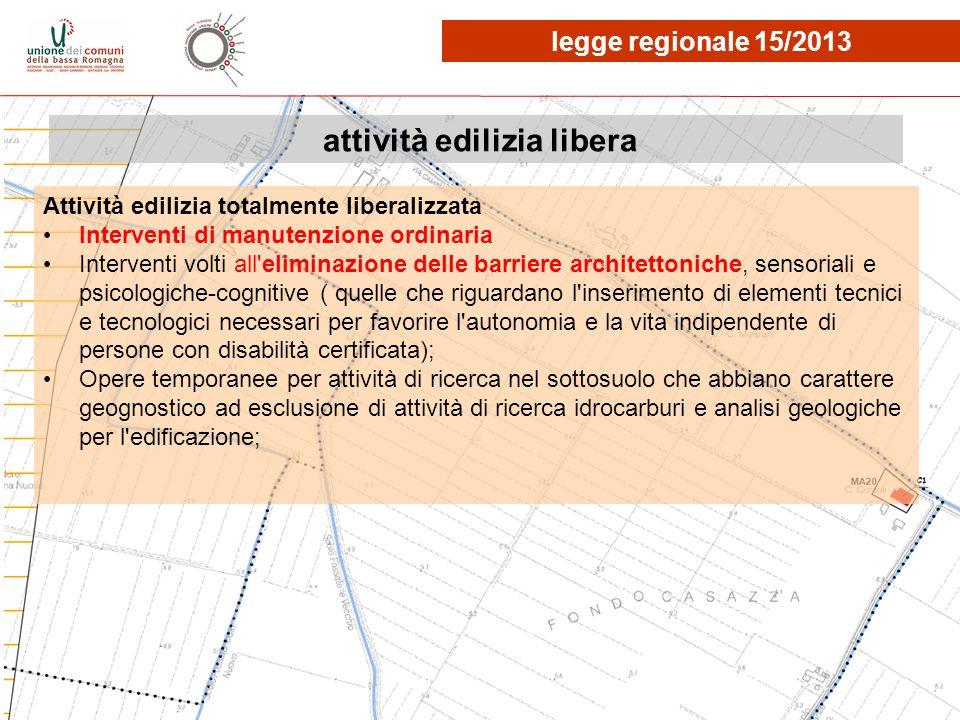 attività edilizia libera Attività edilizia totalmente liberalizzata Interventi di manutenzione ordinaria Interventi volti all'eliminazione delle barri