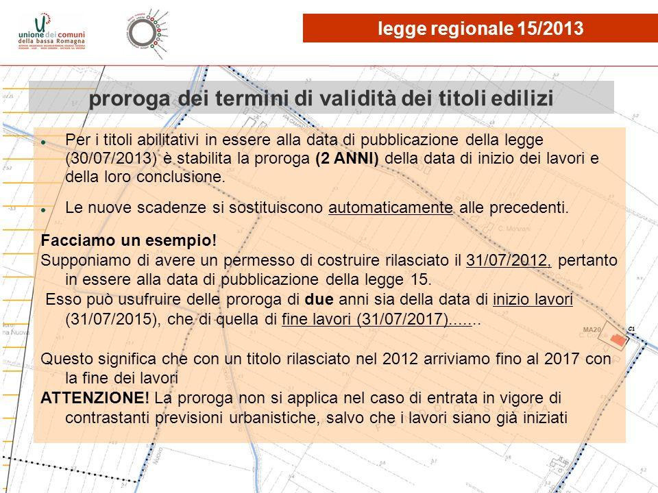 proroga dei termini di validità dei titoli edilizi Per i titoli abilitativi in essere alla data di pubblicazione della legge (30/07/2013) è stabilita