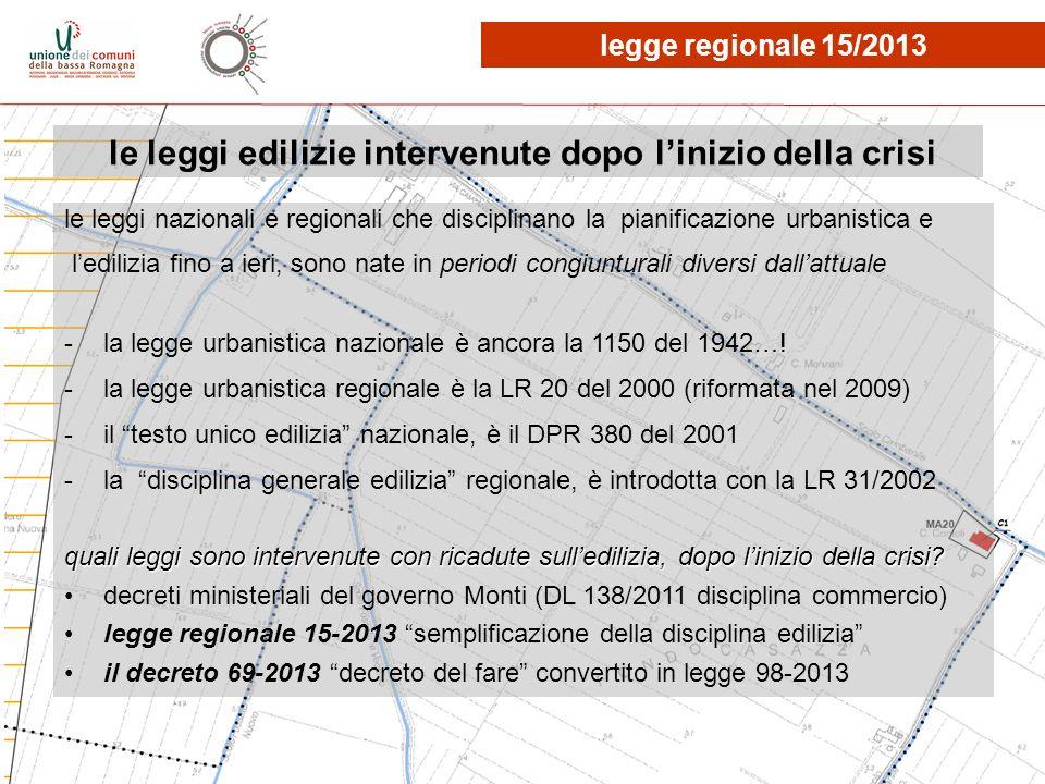 le leggi edilizie intervenute dopo linizio della crisi legge regionale 15/2013 le leggi nazionali e regionali che disciplinano la pianificazione urban