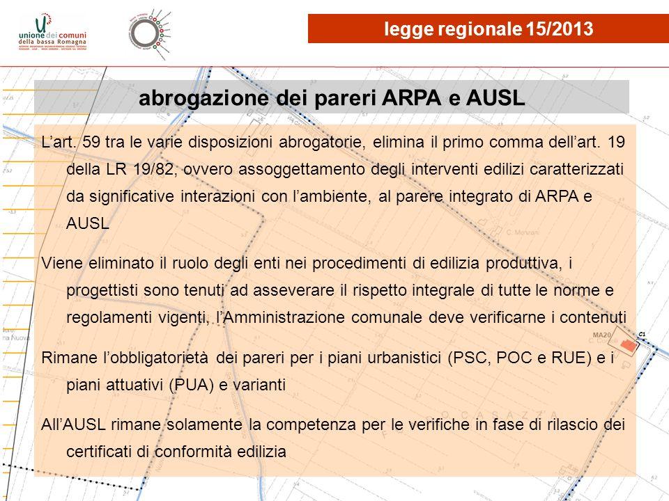 abrogazione dei pareri ARPA e AUSL Lart. 59 tra le varie disposizioni abrogatorie, elimina il primo comma dellart. 19 della LR 19/82, ovvero assoggett