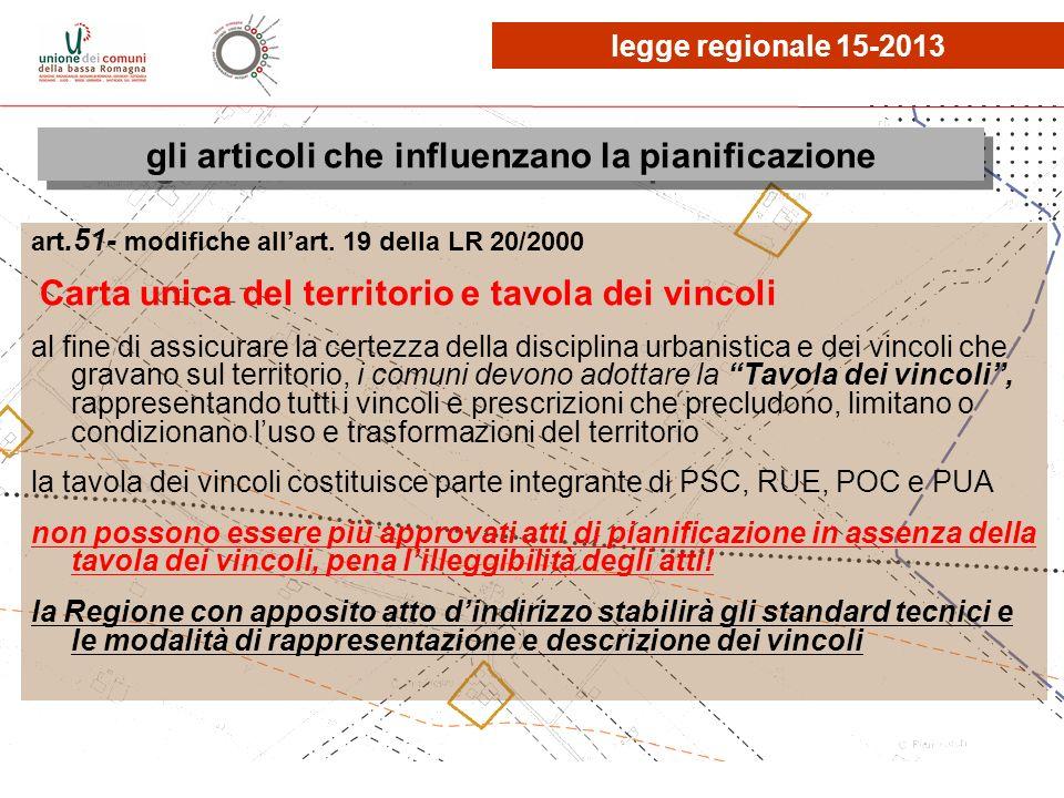 legge regionale 15-2013 gli articoli che influenzano la pianificazione art.51- modifiche allart. 19 della LR 20/2000 Carta unica del territorio e tavo