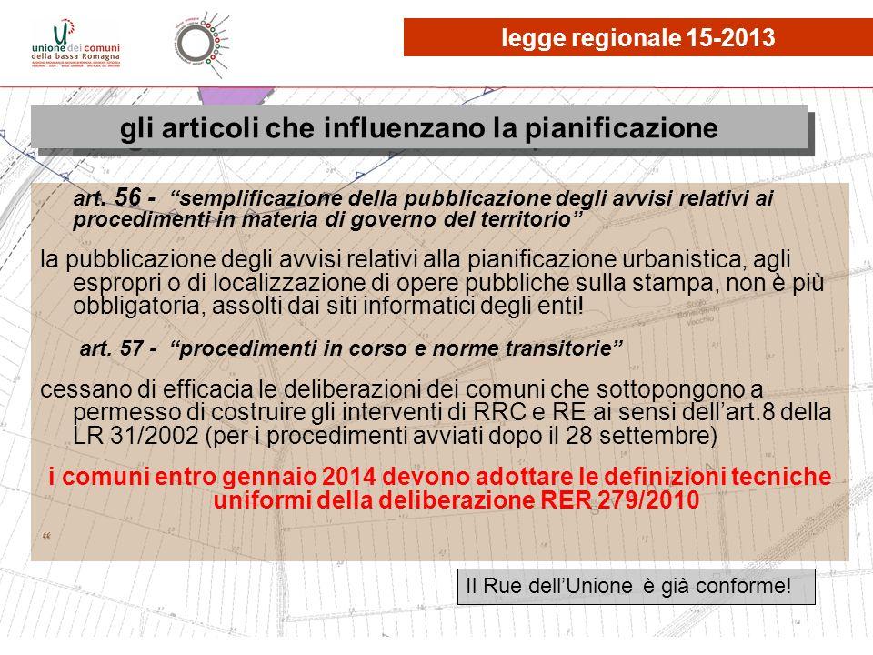 le osservazioni, quante? gli articoli che influenzano la pianificazione legge regionale 15-2013 Il Rue dellUnione è già conforme!