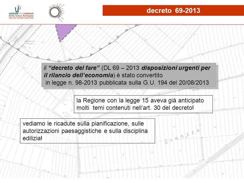 il decreto del fare (DL 69 – 2013 disposizioni urgenti per il rilancio delleconomia) è stato convertito in legge n. 98-2013 pubblicata sulla G.U. 194
