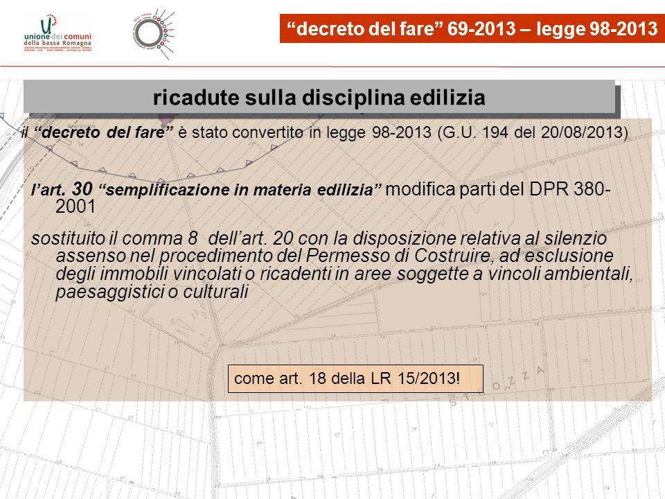 le osservazioni, quante? lart. 30 semplificazione in materia edilizia modifica parti del DPR 380- 2001 sostituito il comma 8 dellart. 20 con la dispos