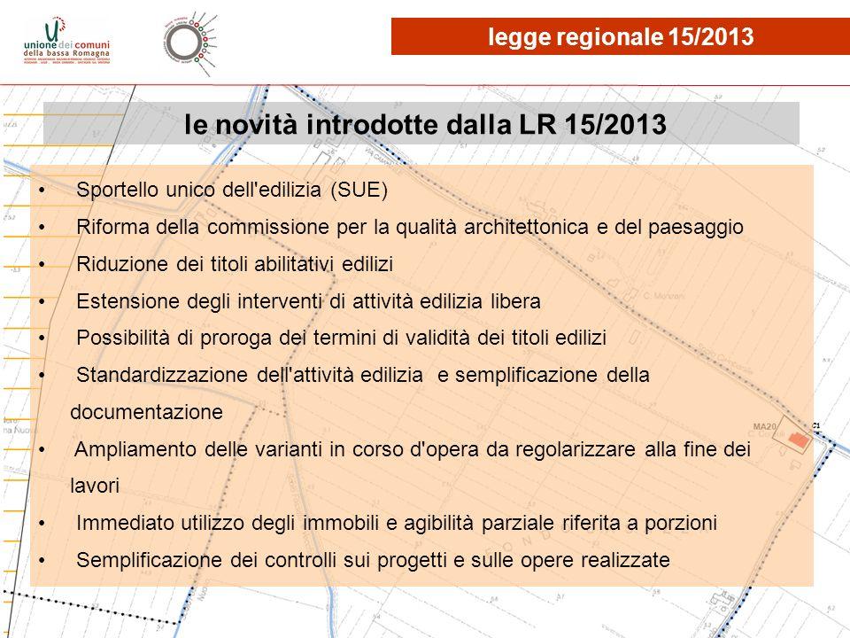 le novità introdotte dalla LR 15/2013 Sportello unico dell'edilizia (SUE) Riforma della commissione per la qualità architettonica e del paesaggio Ridu