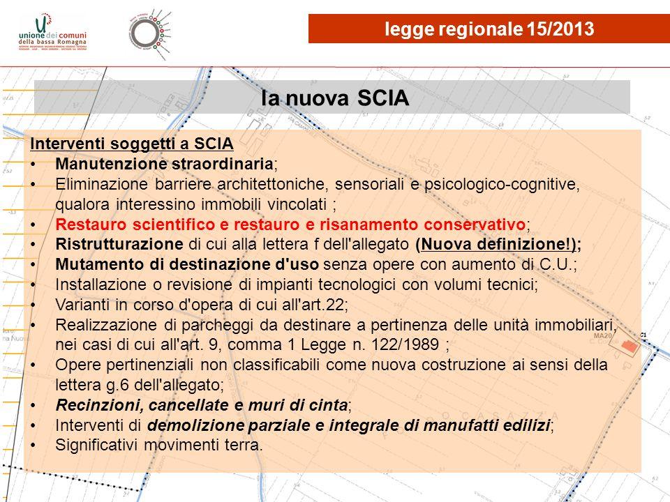 la nuova SCIA Interventi soggetti a SCIA Manutenzione straordinaria; Eliminazione barriere architettoniche, sensoriali e psicologico-cognitive, qualor