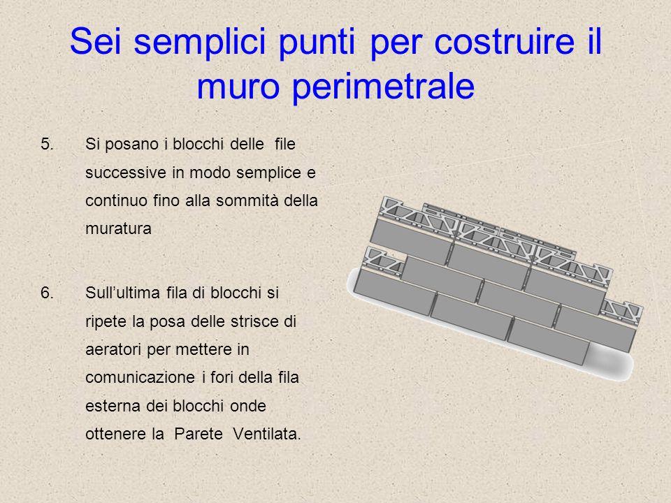 Sei semplici punti per costruire il muro perimetrale 5.Si posano i blocchi delle file successive in modo semplice e continuo fino alla sommità della m