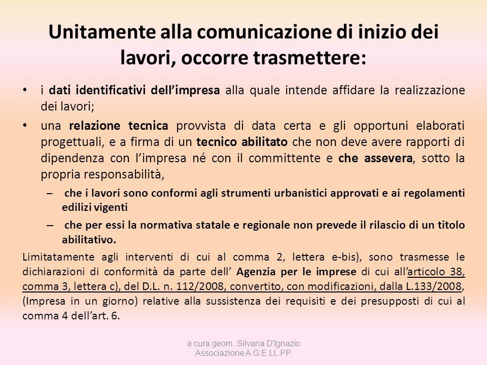 DENUNCIA DI INIZIO ATTIVITÀ Lart.22 comma 1 del T.U.