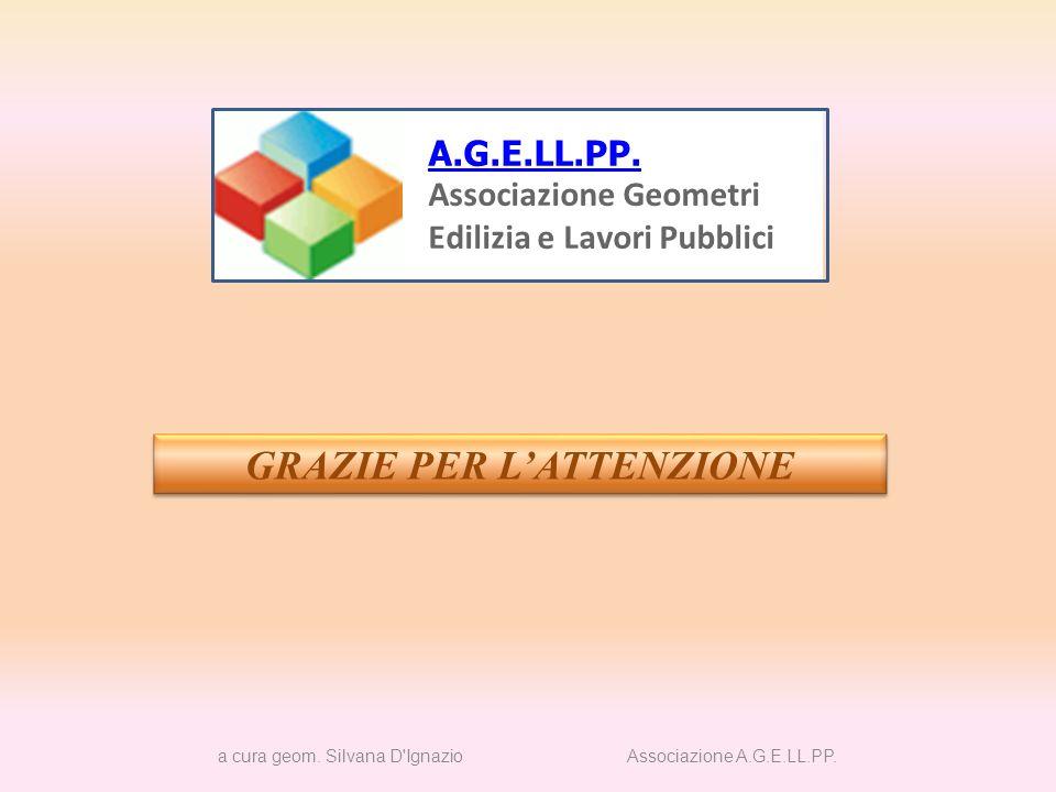 GRAZIE PER LATTENZIONE a cura geom. Silvana D'Ignazio Associazione A.G.E.LL.PP. A.G.E.LL.PP. Associazione Geometri Edilizia e Lavori Pubblici