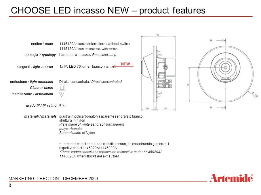 3 CHOOSE LED incasso NEW – product features 3 1146120A * senza interruttore / without switch 1145120A * con interruttore / with switch codice / code p