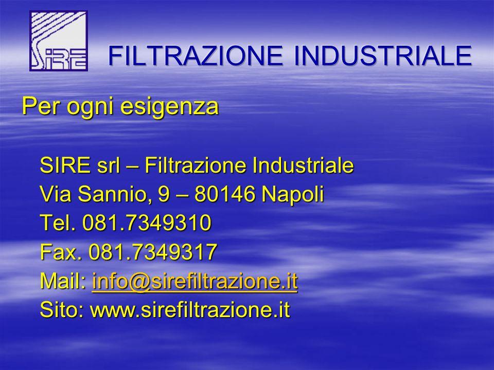 Per ogni esigenza SIRE srl – Filtrazione Industriale SIRE srl – Filtrazione Industriale Via Sannio, 9 – 80146 Napoli Via Sannio, 9 – 80146 Napoli Tel.