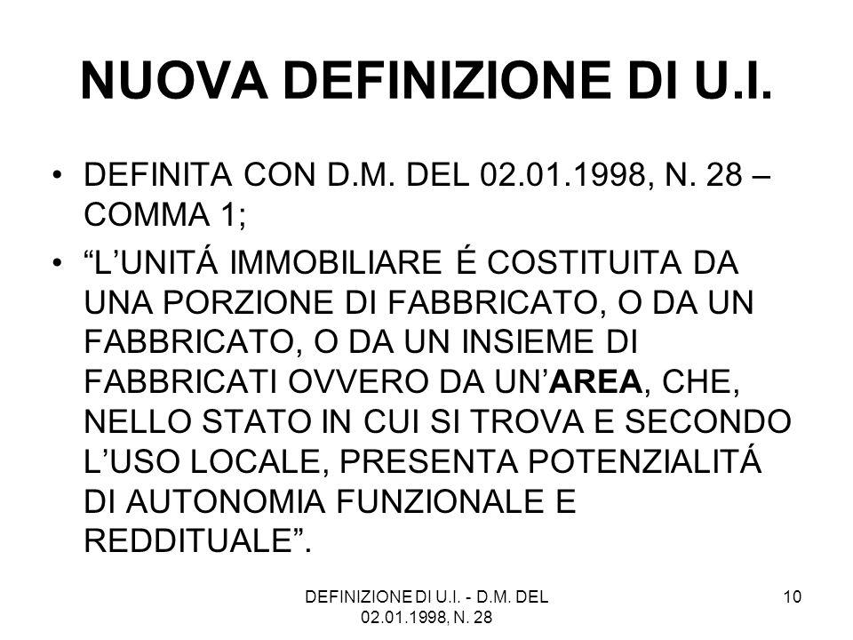 DEFINIZIONE DI U.I. - D.M. DEL 02.01.1998, N. 28 10 NUOVA DEFINIZIONE DI U.I. DEFINITA CON D.M. DEL 02.01.1998, N. 28 – COMMA 1; LUNITÁ IMMOBILIARE É