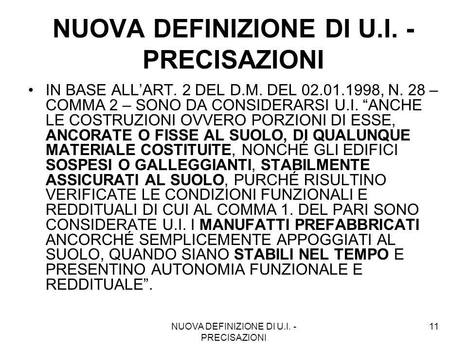 NUOVA DEFINIZIONE DI U.I. - PRECISAZIONI 11 NUOVA DEFINIZIONE DI U.I. - PRECISAZIONI IN BASE ALLART. 2 DEL D.M. DEL 02.01.1998, N. 28 – COMMA 2 – SONO