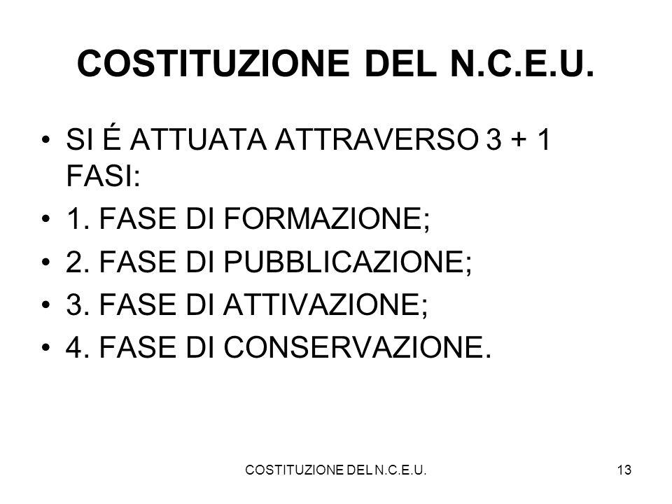 COSTITUZIONE DEL N.C.E.U.13 COSTITUZIONE DEL N.C.E.U. SI É ATTUATA ATTRAVERSO 3 + 1 FASI: 1. FASE DI FORMAZIONE; 2. FASE DI PUBBLICAZIONE; 3. FASE DI