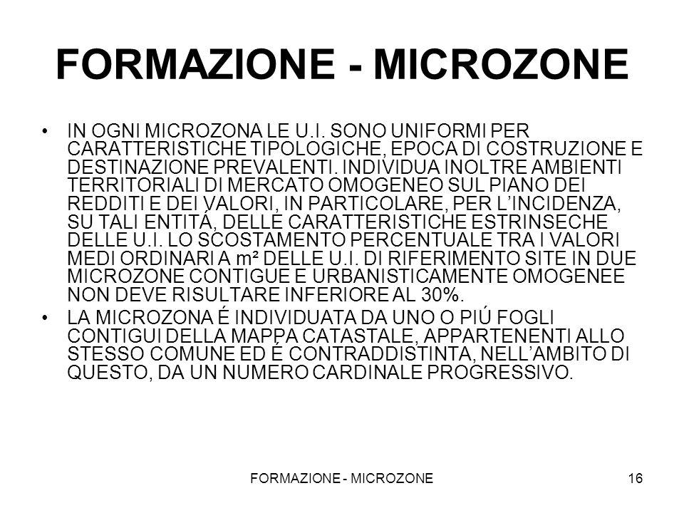 FORMAZIONE - MICROZONE16 FORMAZIONE - MICROZONE IN OGNI MICROZONA LE U.I. SONO UNIFORMI PER CARATTERISTICHE TIPOLOGICHE, EPOCA DI COSTRUZIONE E DESTIN