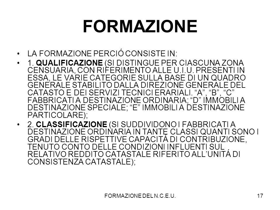FORMAZIONE DEL N.C.E.U.17 FORMAZIONE LA FORMAZIONE PERCIÓ CONSISTE IN: 1. QUALIFICAZIONE (SI DISTINGUE PER CIASCUNA ZONA CENSUARIA, CON RIFERIMENTO AL